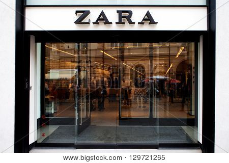 Bucharest, Romania, May 4, 2016: Zara logo and store front. Zara is a Spanish clothing and accessories retailer based in Arteixo, Galicia. It is the world's largest apparel retailer.