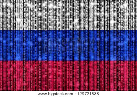Russian flag texture with digital zeros and ones strains glowing in the national colors