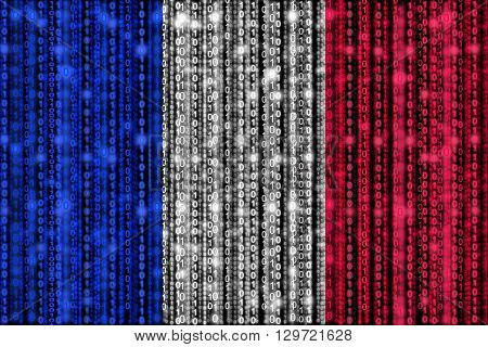 French flag texture with digital zeros and ones strains glowing in the national colors