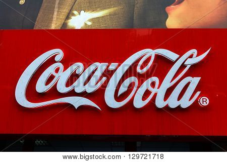 Bucharest, Romania, May 3, 2016:Coca-Cola sign. Coca-Cola is a carbonated soft drink.It is produced by The Coca-Cola Company of Atlanta, Georgia, and is often referred to simply as Coke.