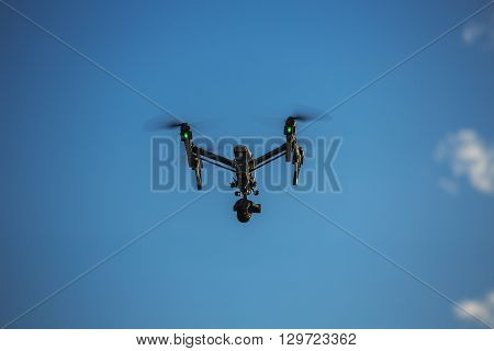Varna Bulgaria - May 13 2016: Image of DJI Inspire 1 Pro drone UAV quadcopter which shoots 4k video and 16mp still images and is controlled by wireless remote with a range of 2km