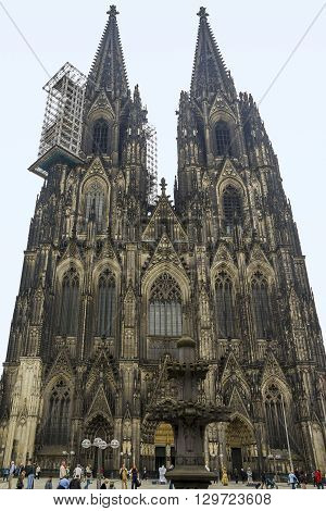 Cologne, Germany - May 15: This is Roman Catholic Gothic cathedral in Cologne which ranks third in the list of the highest churches in the world May 15, 2013 in Cologne, Germany.