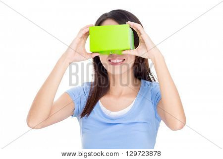 Woman experience though virtual reality device