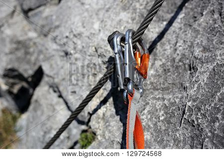 security equipment on a rope way in the alps