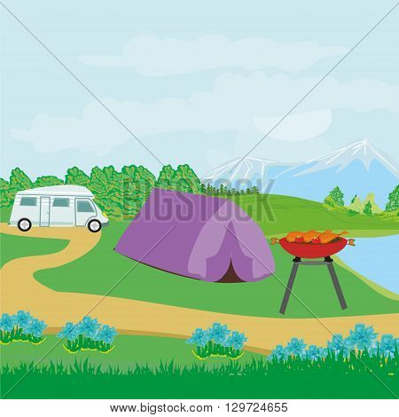 Picnic BBQ on rural landscape , vector illustration