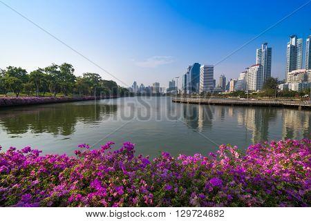Cityscape of Benjakiti park Bangkok downtown city