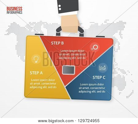 Vector infographic template with businessman holding bag briefcase. Business and travel concept with 3 processes options parts steps for graphs charts diagrams presentation website layout.