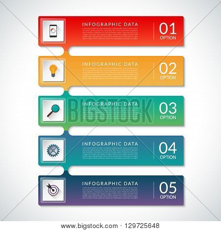 Vector elements for infographics. Business concept with 5 steps, parts, stages. Infographic options banner. Layout template for web data visualization, workflow layout, chart, diagram, graph, report