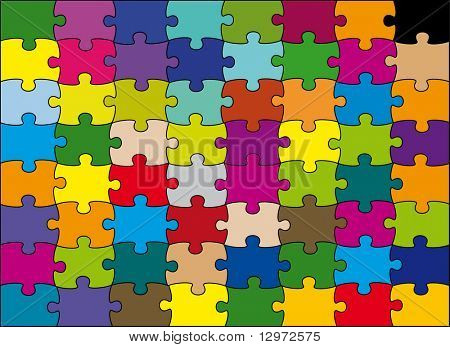 puzzle de 64 piezas color vector