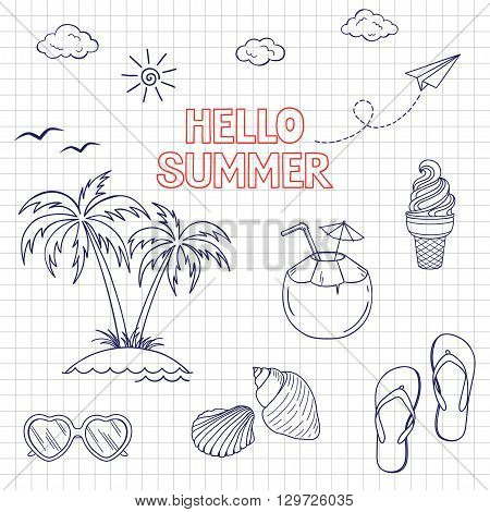 Set of icons and design elements for summer holidays and beach rest in doodle style