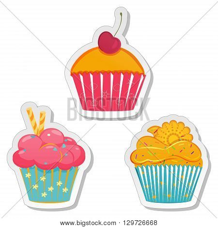 Food sticker set. Collection of labels of cupcakes muffins with different toppings in elegant pastel hues. Bakery design template. Vector illustration isolated on white background