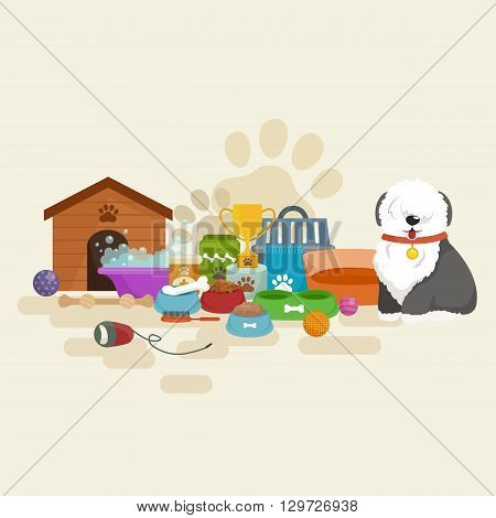 Happy Dog kennel, house with bone and bowl of food, vector illustration