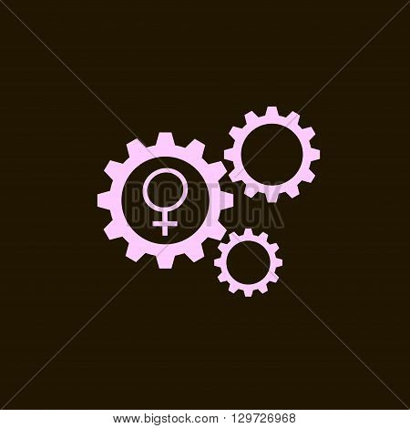 Flat icon of gears and vector outlines icons of gender female symbols isolated on black background. Woman sign.