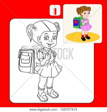 Coloring Book. Coloring book pages with cartoon vector illustration.Cute brown-haired girl with a satchel and his arm walking to school.