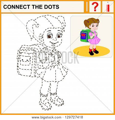 Connect the dots preschool exercise task for kids. Cute brown-haired girl with a satchel and his arm walking to school.