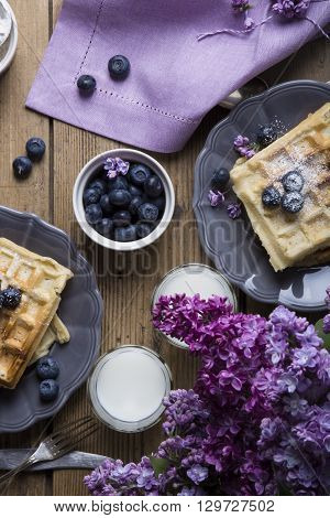 Vegan crispy wafers with blueberries in a rustic environment at a large table top view of the feast purple