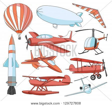 Aviation Icons Set. Vector illustrations, colored objects isolated on white background