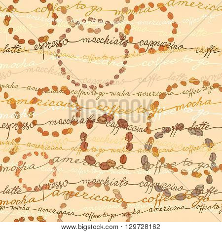 Late coffee seamless pattern background. Coffee beans circles and coffee calligraphy lines. Espresso, cappuccino, calligraphy handwritten texture, fabric packaging, wrapping paper, menu, cafeteria.
