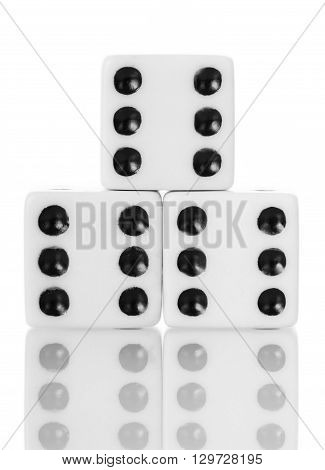Macro dice game isolated on white background