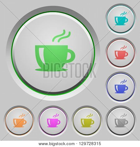 Set of color cappuccino sunk push buttons.