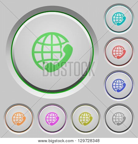 Set of color International call sunk push buttons.