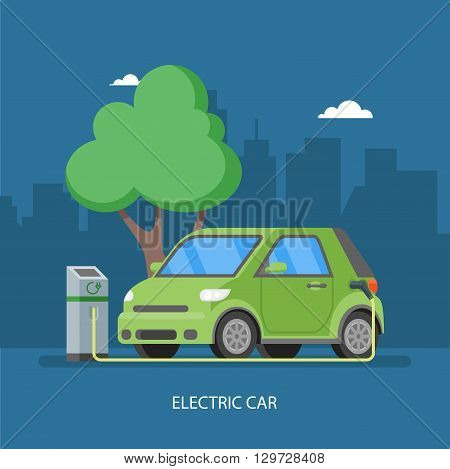 Electric car charging at the charger station. Vector illustration in flat style. Eco transport concept background.