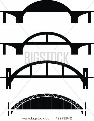 Set of bridge silhouettes