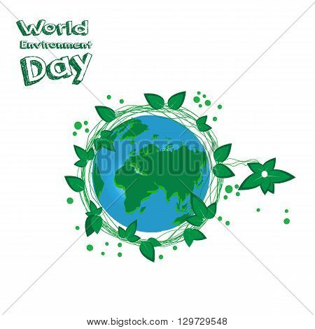 World Environment Day. Earht is our home. Art Earth on white background. Vector illustration