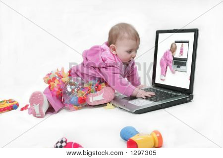 Baby Checking Out Laptop