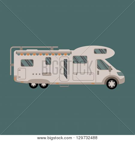 Recreational vehicle RV vector flat design illustration