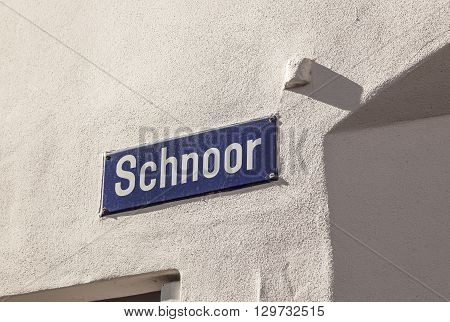 Street Name Of  The Quarter Schnoor, An Old Town Street In Downtown Bremen