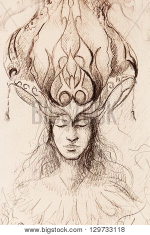 man and ornamental crown, pencil sketch on paper