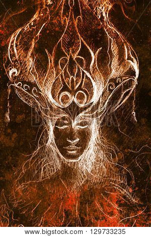man and ornamental crown, pencil sketch on paper, sepia and vintage effect