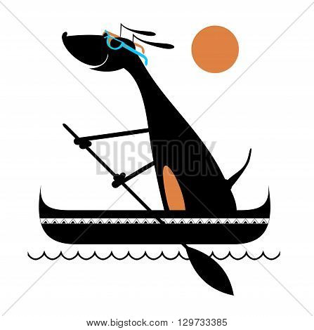 Dog on the boat. Comic cartoon dog floating on the waves in a canoe