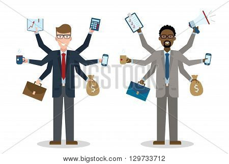 Multitasking six hands isolated businessmen on white background. Successful businessman. Workaholic. Talented and professional. Leadership.