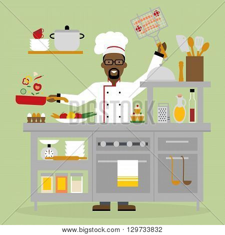 Male african american chef cooking on pink background. Restaurant worker preparing food. Chef uniform and hat. Table and cafe equipment.