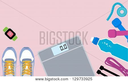Set of fitness tools. Set of sneakers, bottle, jump rope, watch,  dumbells and scale. Workout with dumbbells. Health and sport. Gym concept.