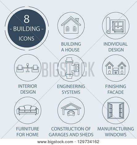 The icons on the theme - Construction of the house, working.