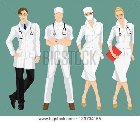 Vector illustration of medical people in medical gown. A young doctor in medical uniform and hat isolated on color background. Woman surgeon in protection mask