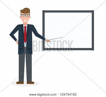 Businessman with pointer and easel board on white background. Teacher or businessman showing and presenting. Caucasian businessman. Office person.