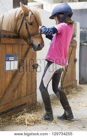 pretty young teenage girl preparing taking care horse poney