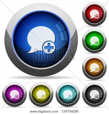 Set of round glossy Post blog comment buttons. Arranged layer structure.