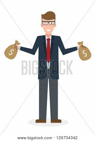 Businessman with money bags. Isolated character. Caucasian businessman holding bags of money. Wealth and investment.