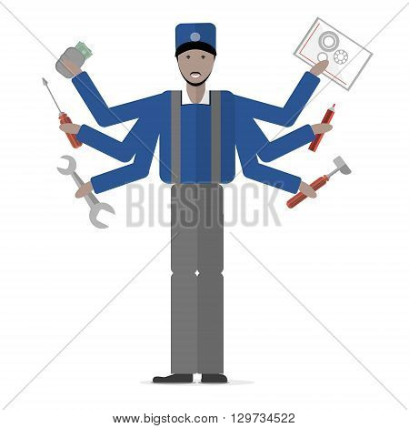 Carpenter on white background. Isolated cartoon character. Multitasking african american plumber or carpenter standing with mechanic tools. Gear, hammer, screwdriver.