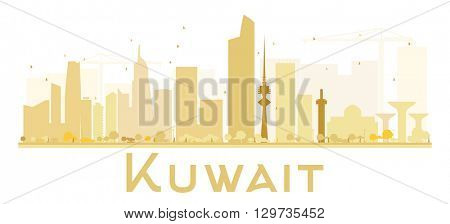 Kuwait City skyline golden silhouette. Vector illustration. Simple flat concept for tourism presentation, banner, placard or web site. Business travel concept. Kuwait isolated on white background