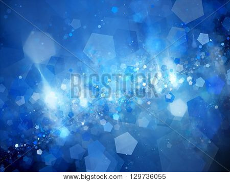 Blue glowing nebula with pentagon particles in deep space computer generated abstract background