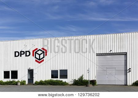 Aarhus, Denmark - May 14, 2016: DPD logistic depot. DPD is an international parcel delivery company owned by GeoPost. It has more than 830 depots in more than 40 countries.