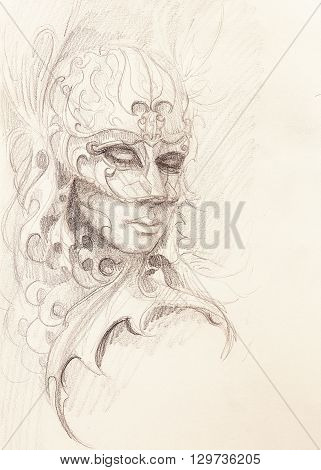 woman and ornamental mask. pencil drawing on paper