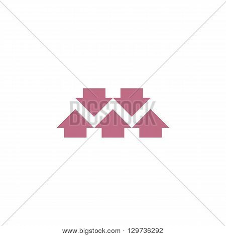 Come together graphic arrow logo abstract letter W formed converge synergy five arrows