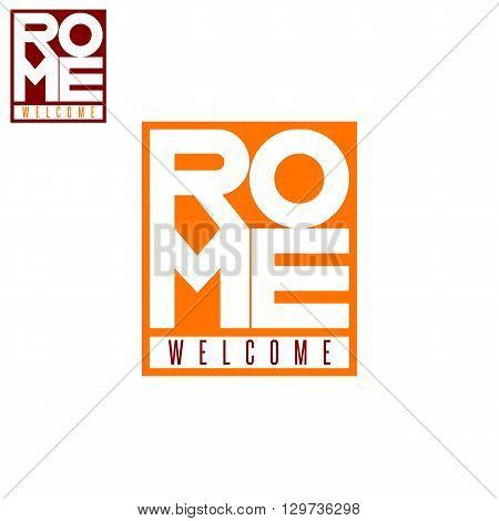 Italian city Rome word box tourism poster lettering mockup t-shirt print